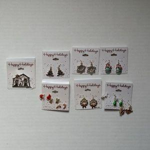 CHRISTMAS EARINGS (6 ) & 1 MANGER PENDANT NEW
